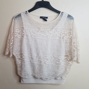Style & Co Cream Lace Blouse w/ attached tank